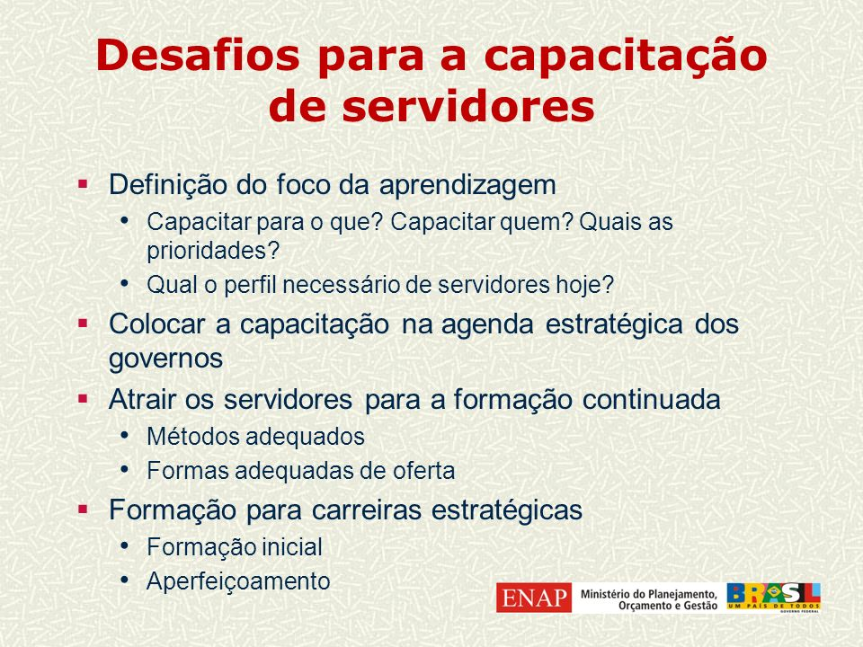 Desafios para a capacitação de servidores