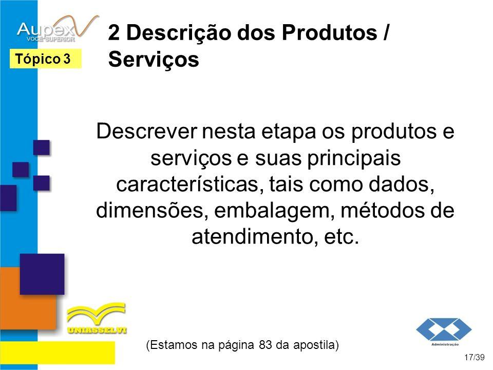 2 Descrição dos Produtos / Serviços
