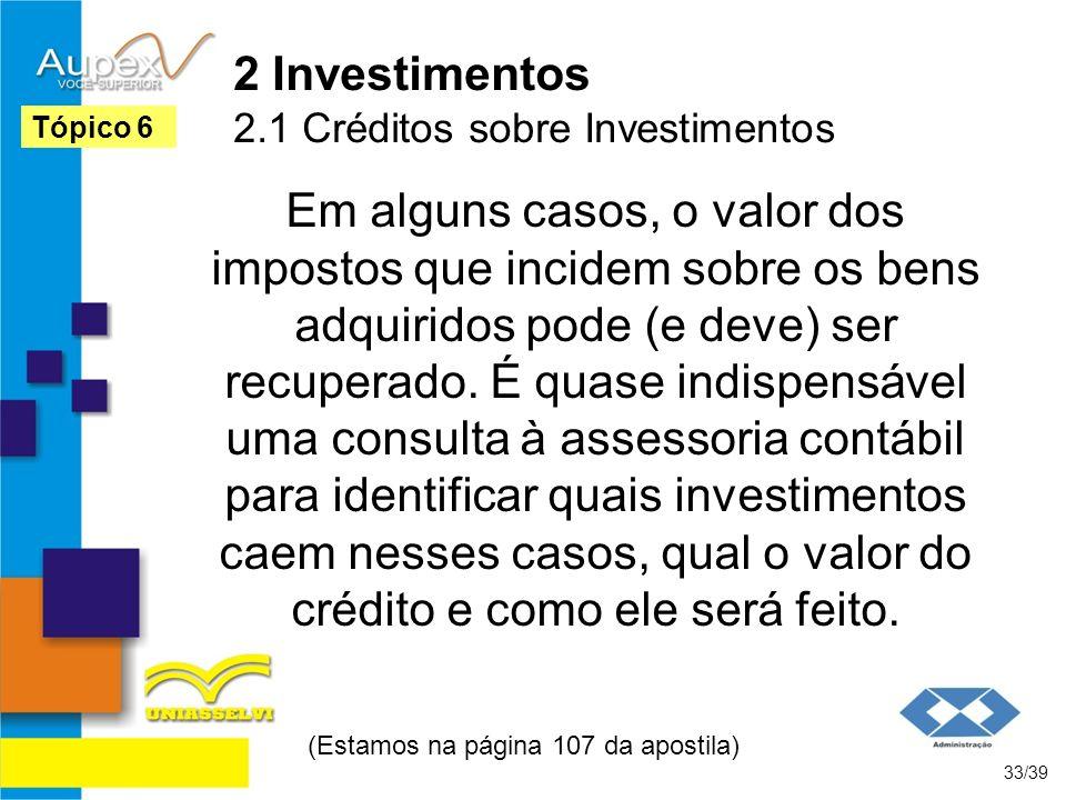 2 Investimentos 2.1 Créditos sobre Investimentos