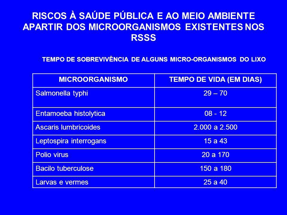 TEMPO DE SOBREVIVÊNCIA DE ALGUNS MICRO-ORGANISMOS DO LIXO