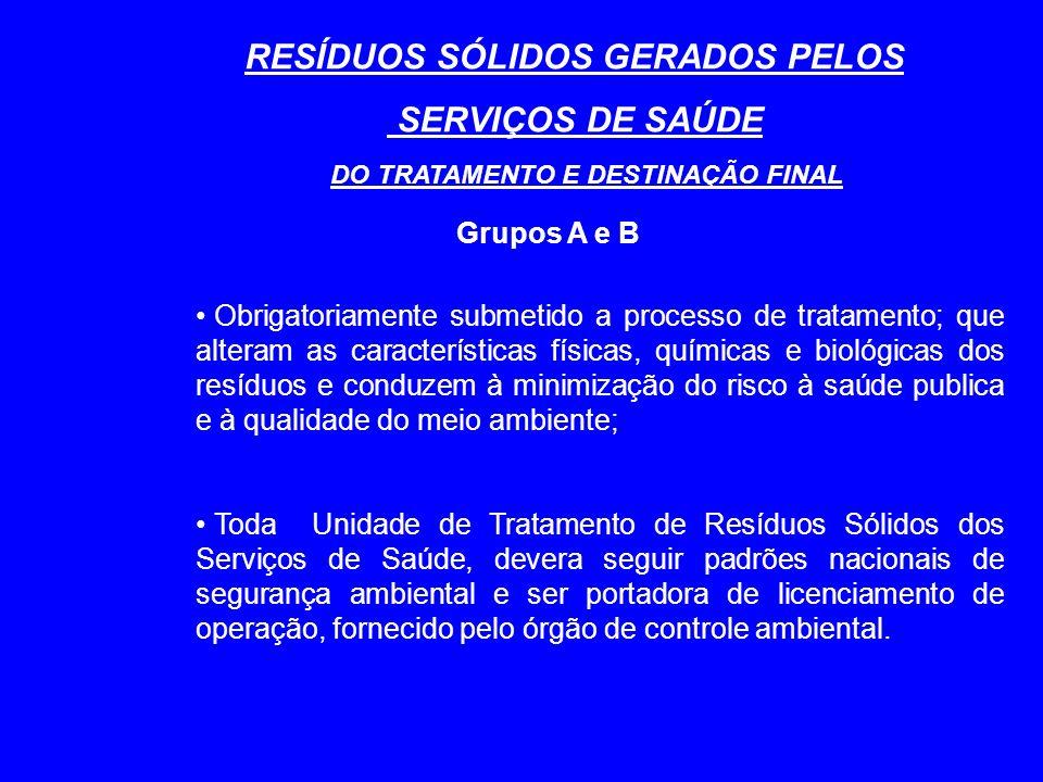 RESÍDUOS SÓLIDOS GERADOS PELOS DO TRATAMENTO E DESTINAÇÃO FINAL