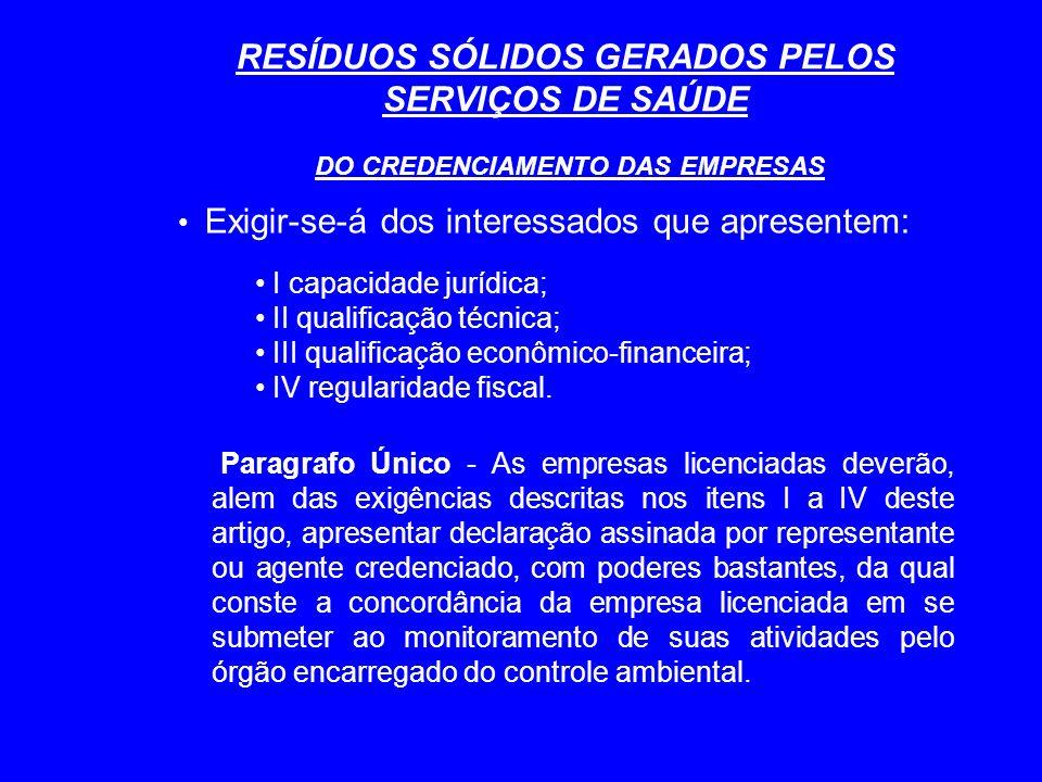 RESÍDUOS SÓLIDOS GERADOS PELOS SERVIÇOS DE SAÚDE