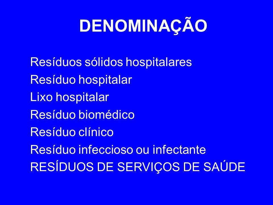DENOMINAÇÃO Resíduos sólidos hospitalares Resíduo hospitalar