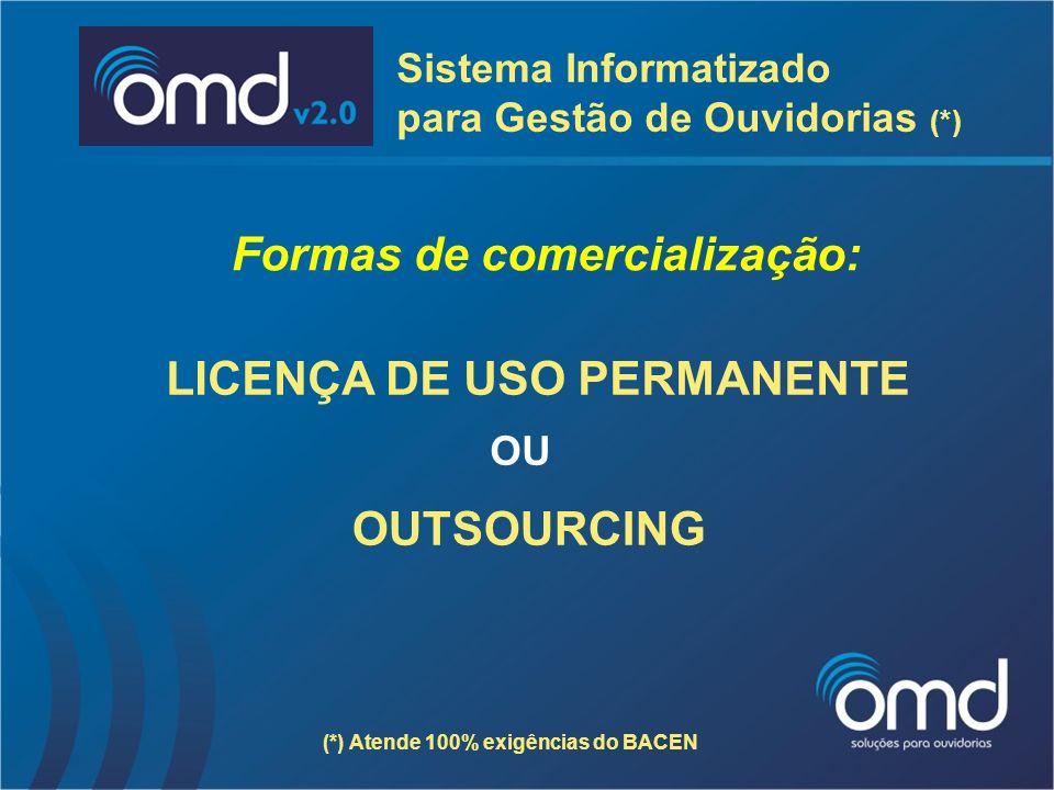 Formas de comercialização: LICENÇA DE USO PERMANENTE