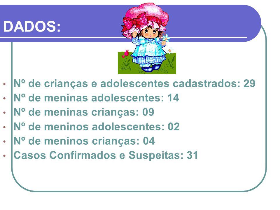 DADOS: Nº de crianças e adolescentes cadastrados: 29
