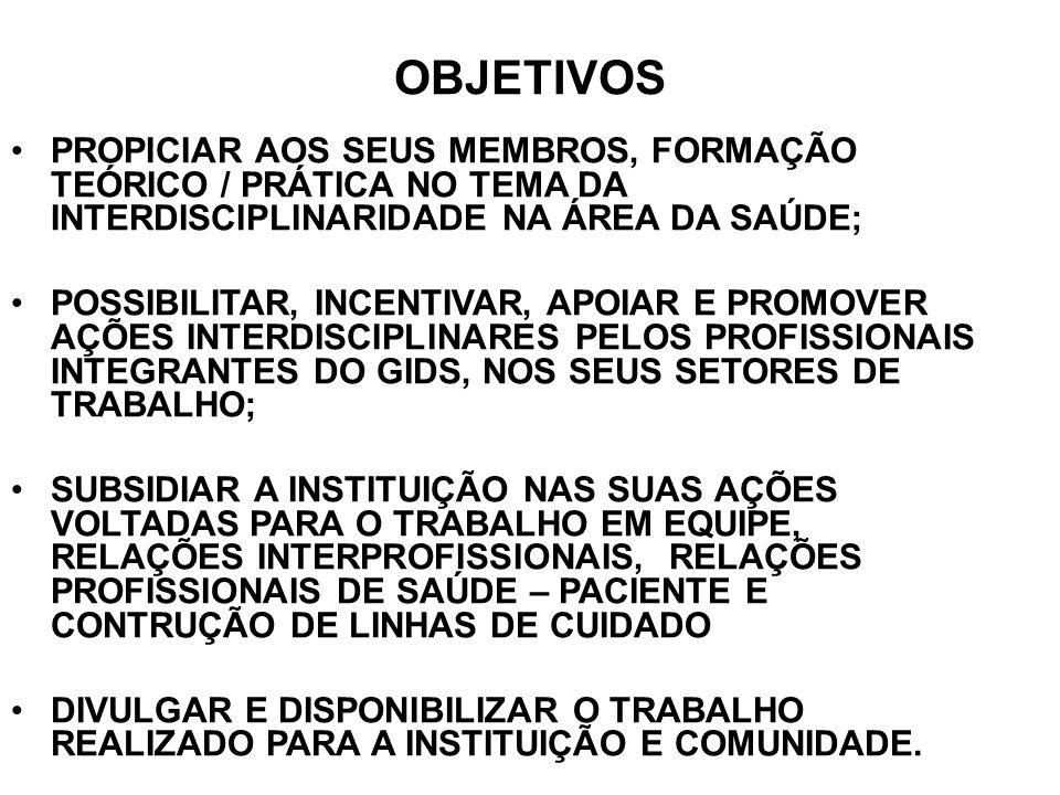 OBJETIVOS PROPICIAR AOS SEUS MEMBROS, FORMAÇÃO TEÓRICO / PRÁTICA NO TEMA DA INTERDISCIPLINARIDADE NA ÁREA DA SAÚDE;