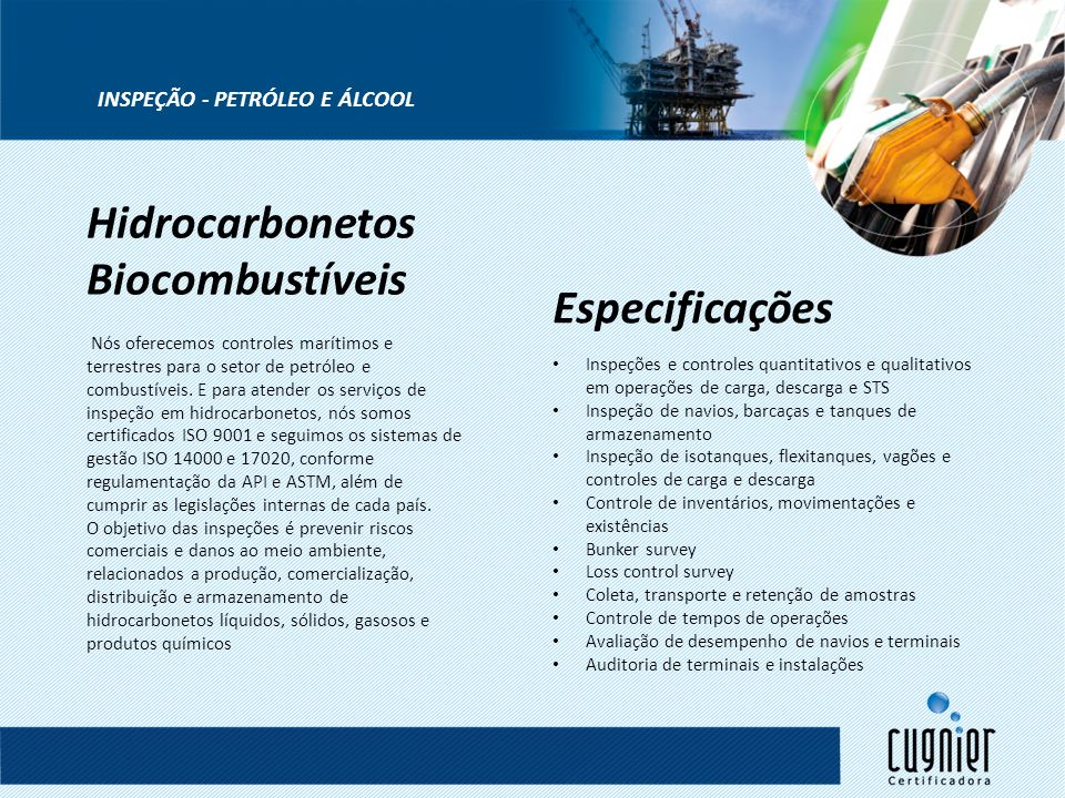 Hidrocarbonetos Biocombustíveis Especificações