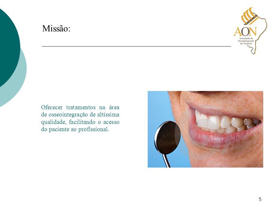 Missão: Oferecer tratamentos na área de osseointegração de altíssima qualidade, facilitando o acesso do paciente ao profissional.