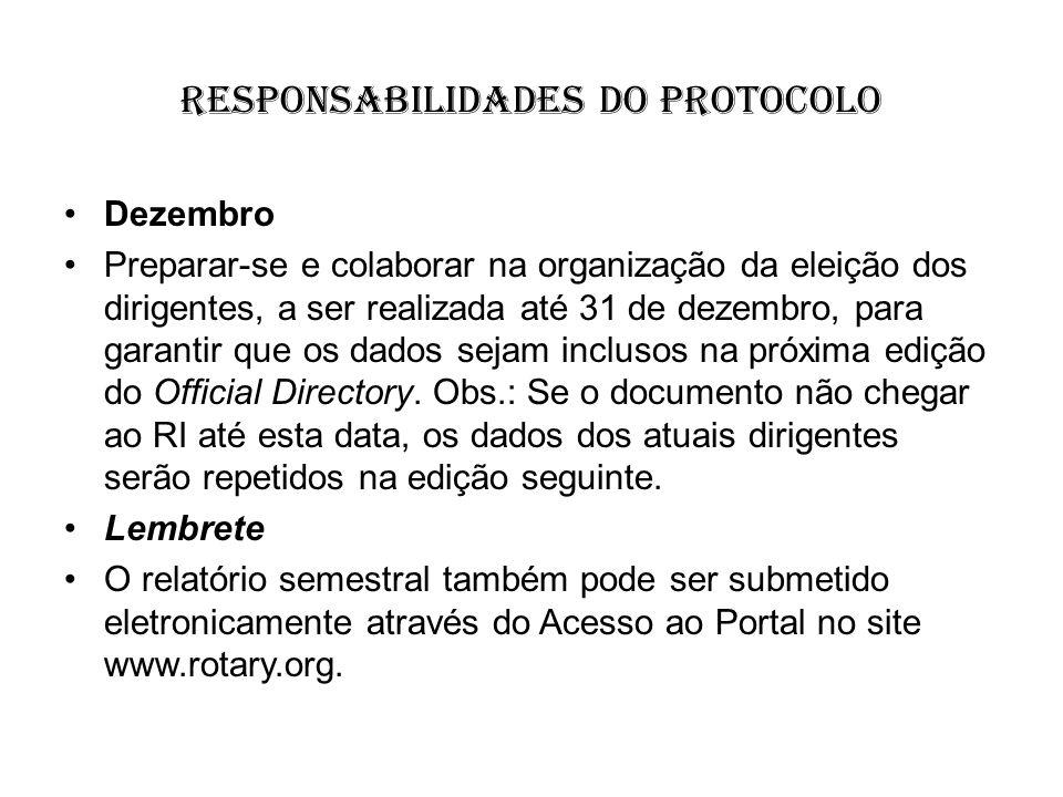 responsabilidades do protocolo