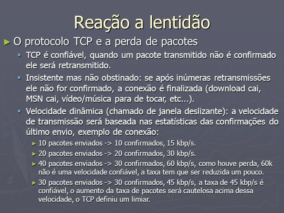 Reação a lentidão O protocolo TCP e a perda de pacotes
