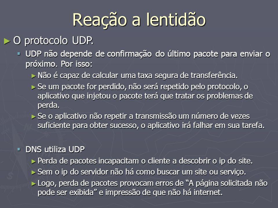 Reação a lentidão O protocolo UDP.