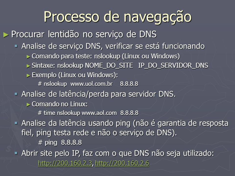 Processo de navegação Procurar lentidão no serviço de DNS