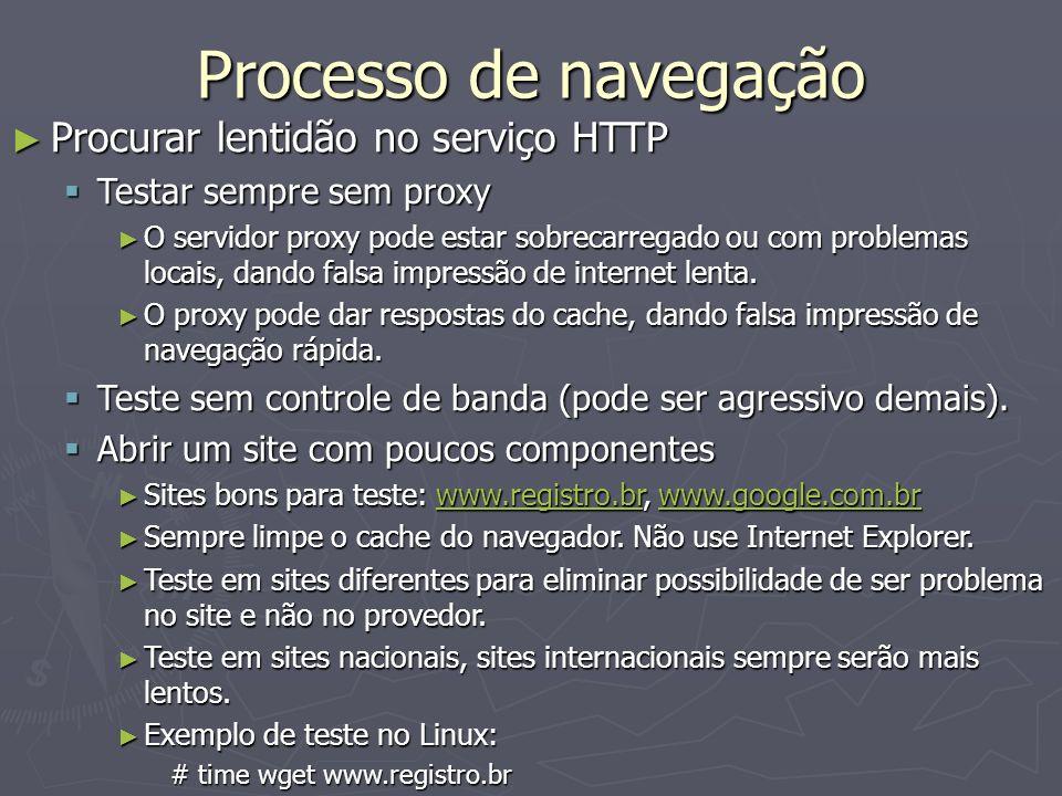Processo de navegação Procurar lentidão no serviço HTTP