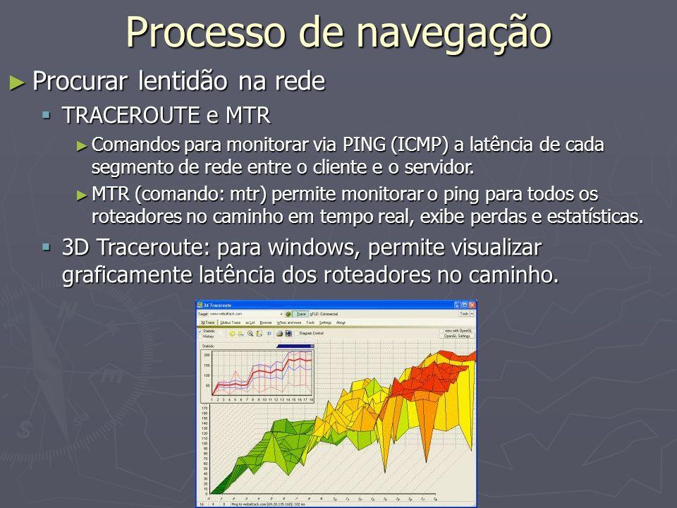 Processo de navegação Procurar lentidão na rede TRACEROUTE e MTR