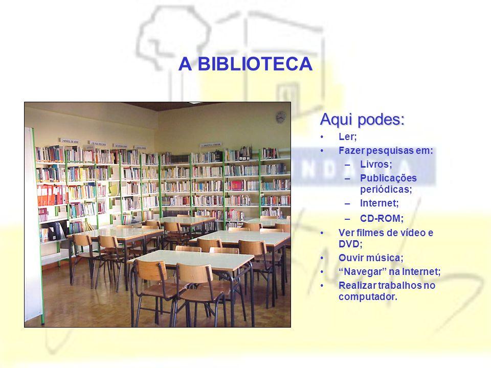 A BIBLIOTECA Aqui podes: Ler; Fazer pesquisas em: Livros;