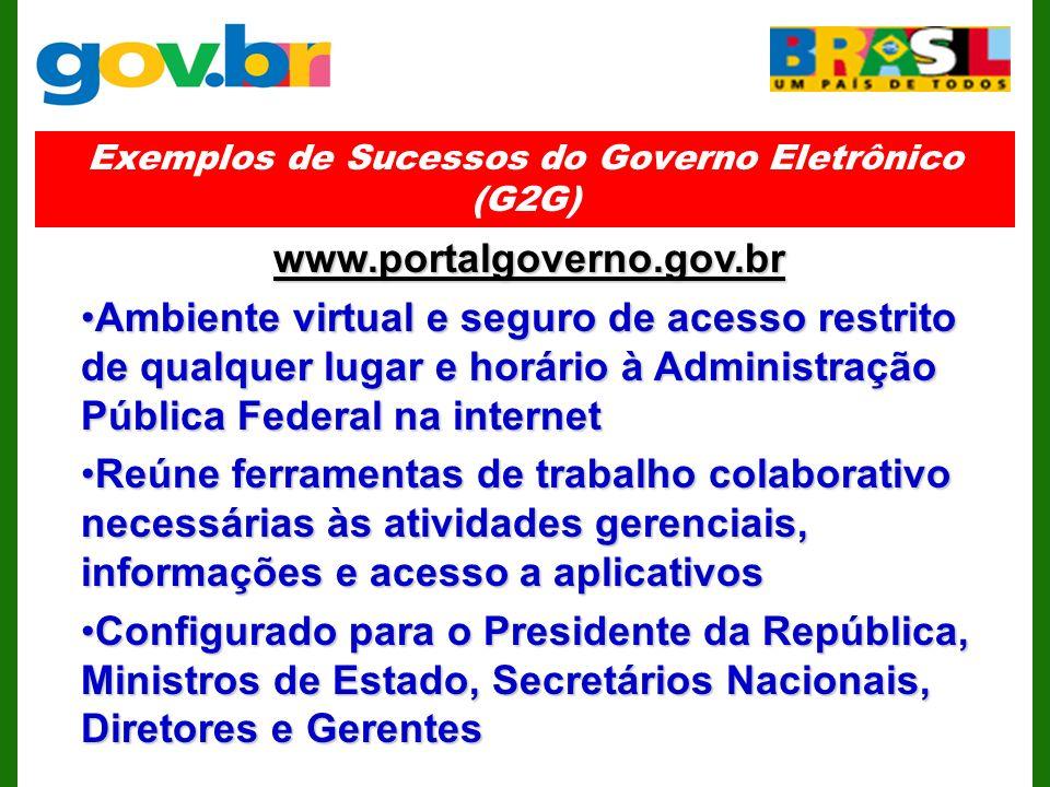 Exemplos de Sucessos do Governo Eletrônico (G2G)
