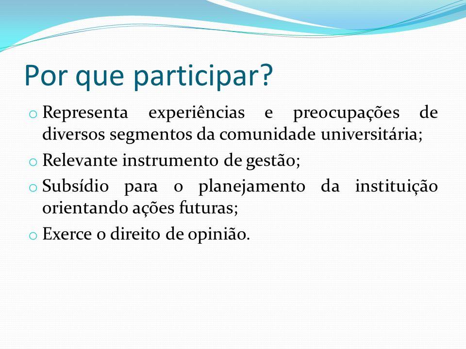 Por que participar Representa experiências e preocupações de diversos segmentos da comunidade universitária;