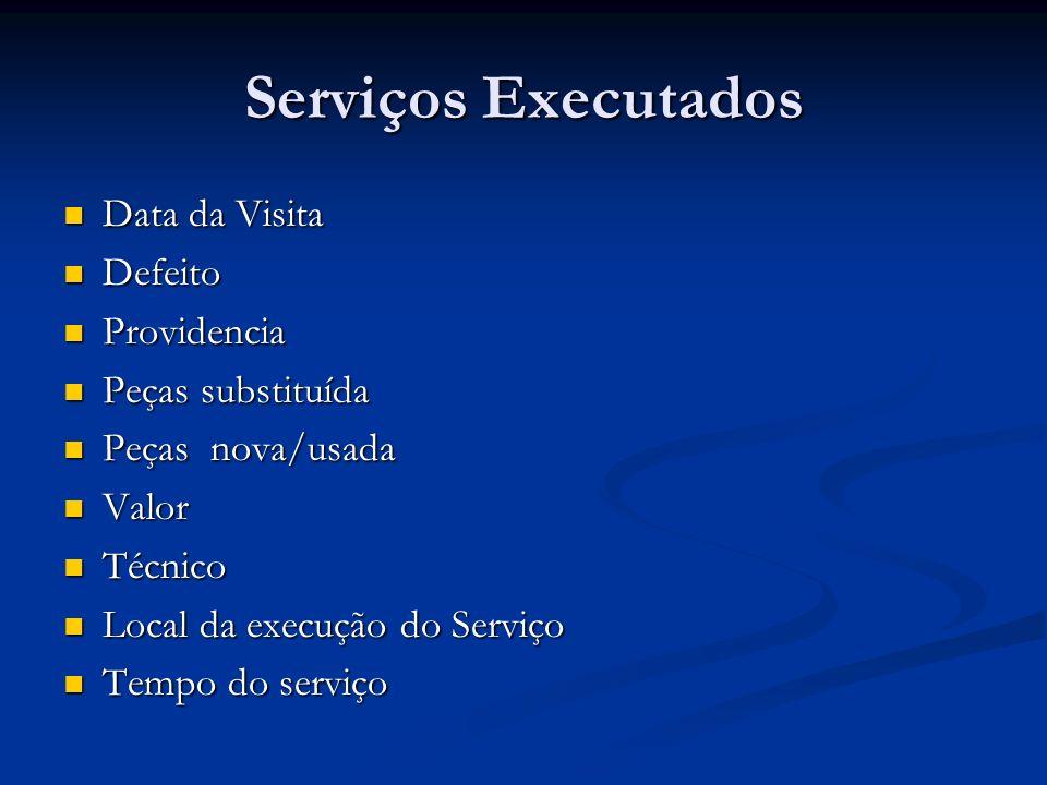 Serviços Executados Data da Visita Defeito Providencia