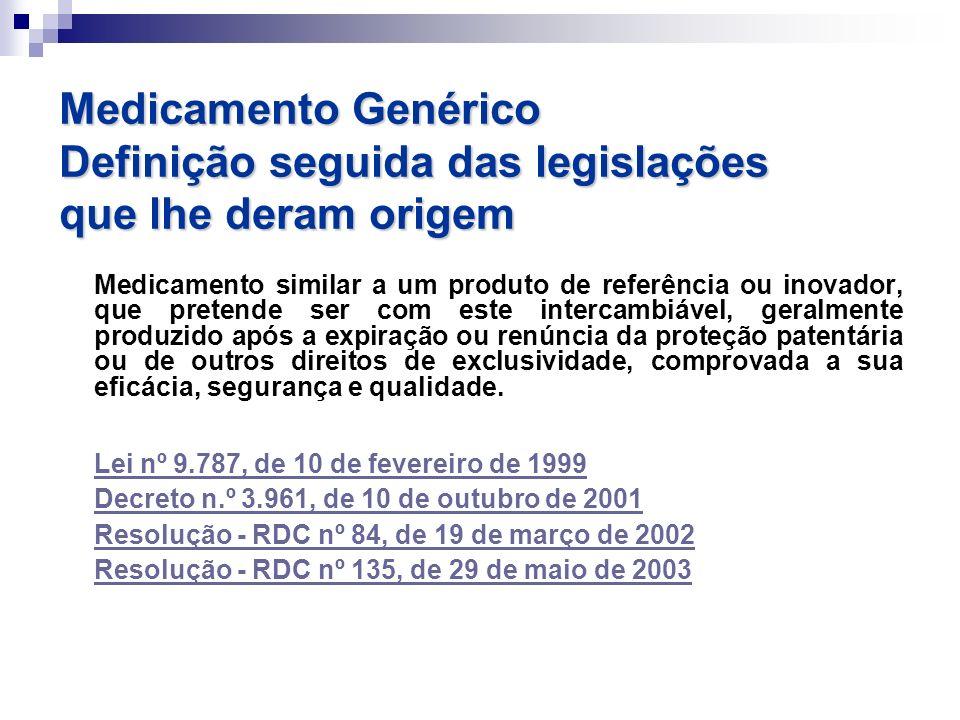 Medicamento Genérico Definição seguida das legislações que lhe deram origem