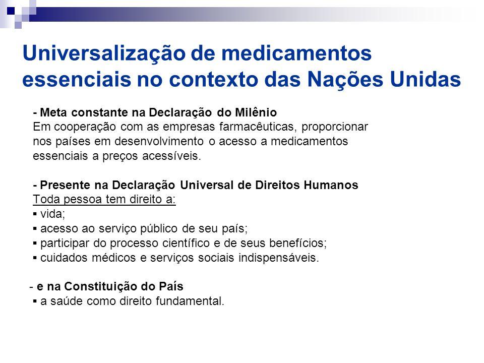 Universalização de medicamentos essenciais no contexto das Nações Unidas