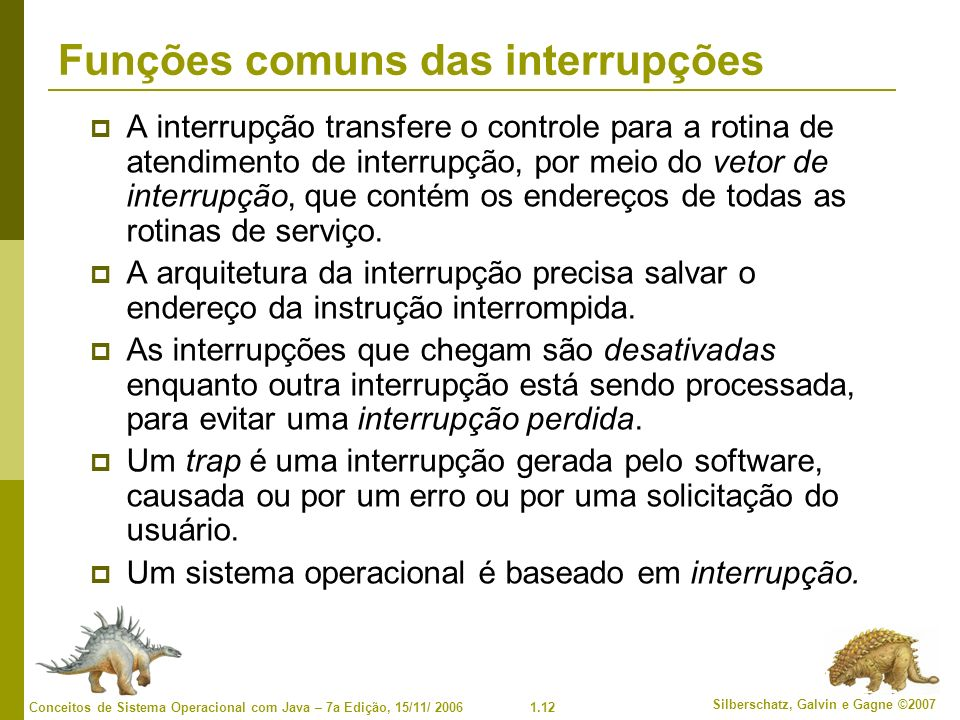 Funções comuns das interrupções