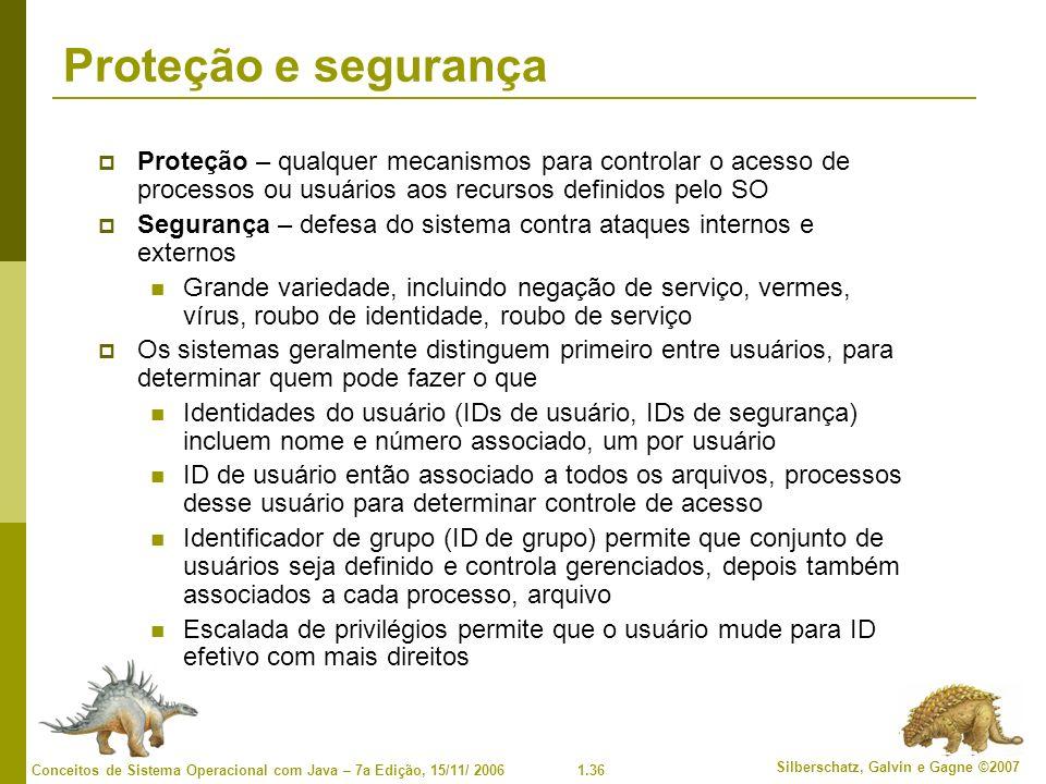 Proteção e segurança Proteção – qualquer mecanismos para controlar o acesso de processos ou usuários aos recursos definidos pelo SO.