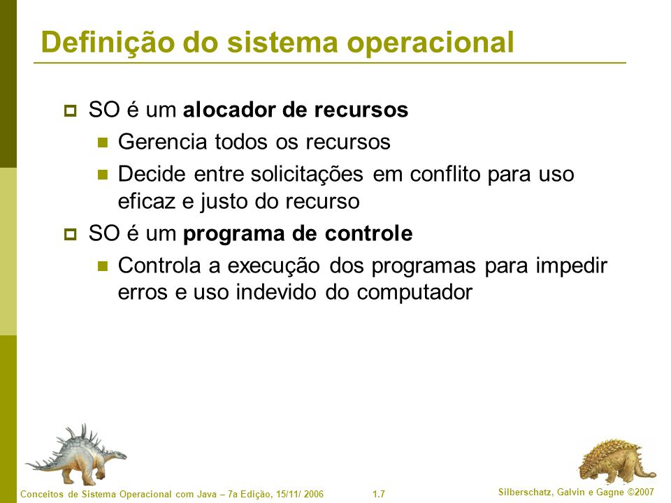 Definição do sistema operacional