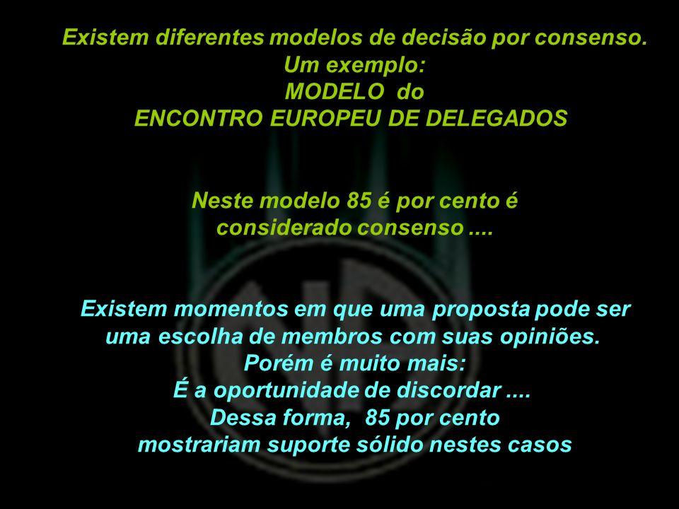 Existem diferentes modelos de decisão por consenso. Um exemplo: