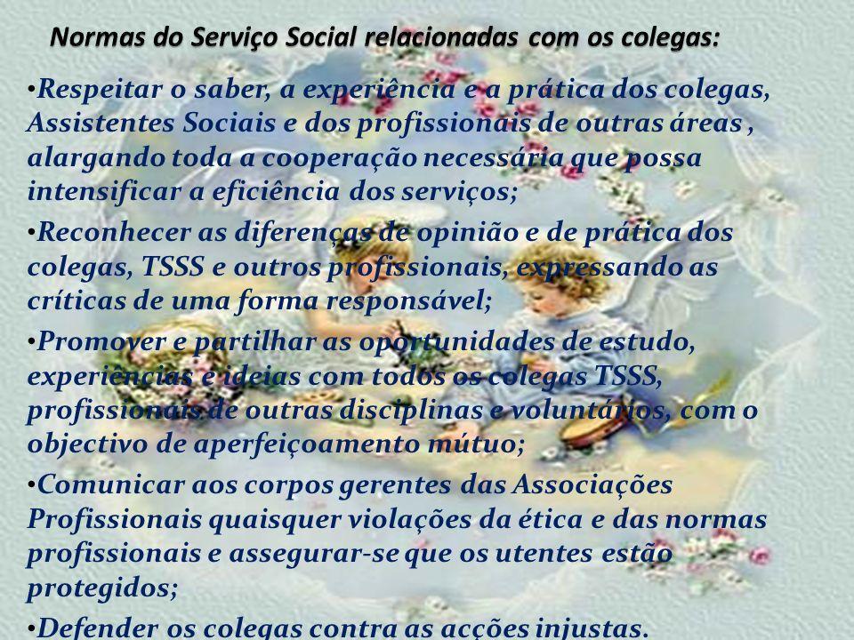 Normas do Serviço Social relacionadas com os colegas: