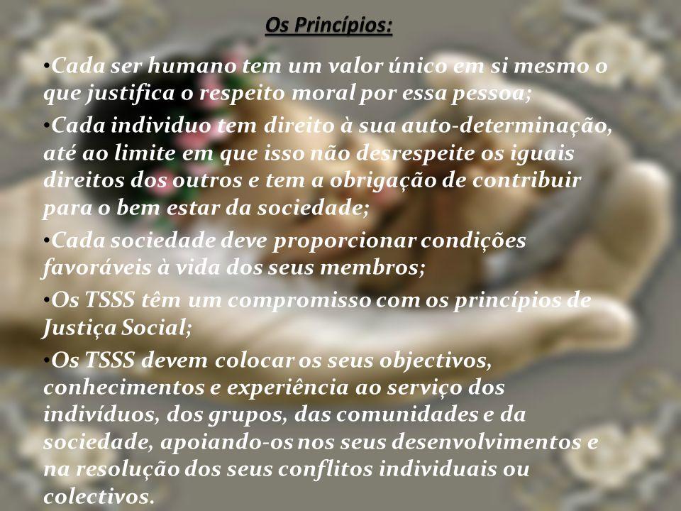 Os Princípios: Cada ser humano tem um valor único em si mesmo o que justifica o respeito moral por essa pessoa;