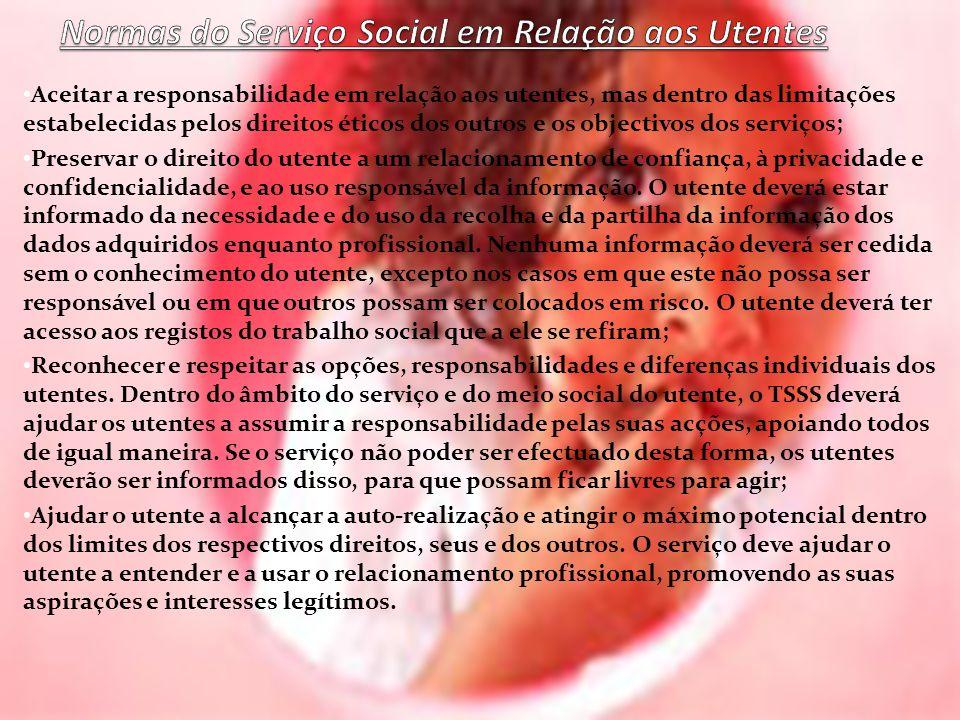 Normas do Serviço Social em Relação aos Utentes