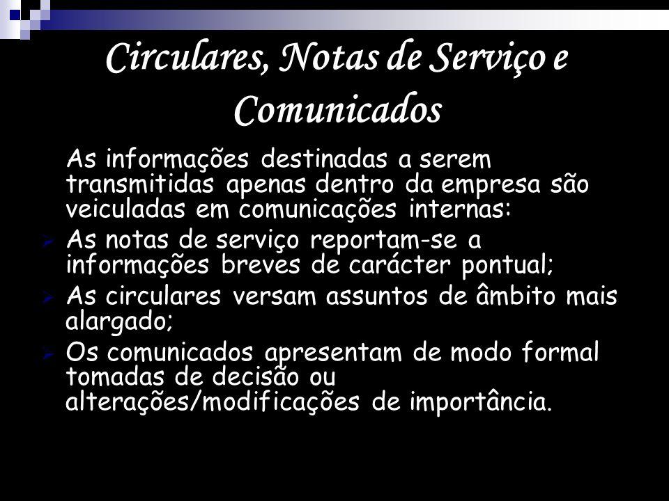Circulares, Notas de Serviço e Comunicados