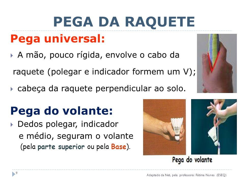 PEGA DA RAQUETE Pega universal: Pega do volante: