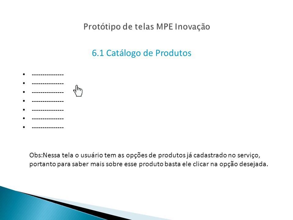 Protótipo de telas MPE Inovação