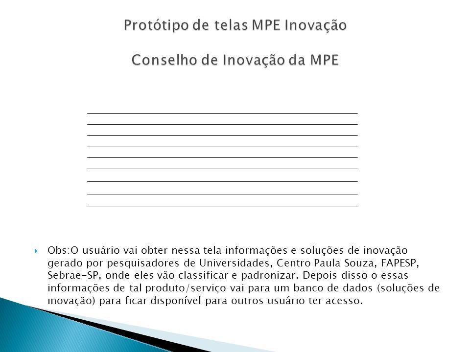 Protótipo de telas MPE Inovação Conselho de Inovação da MPE