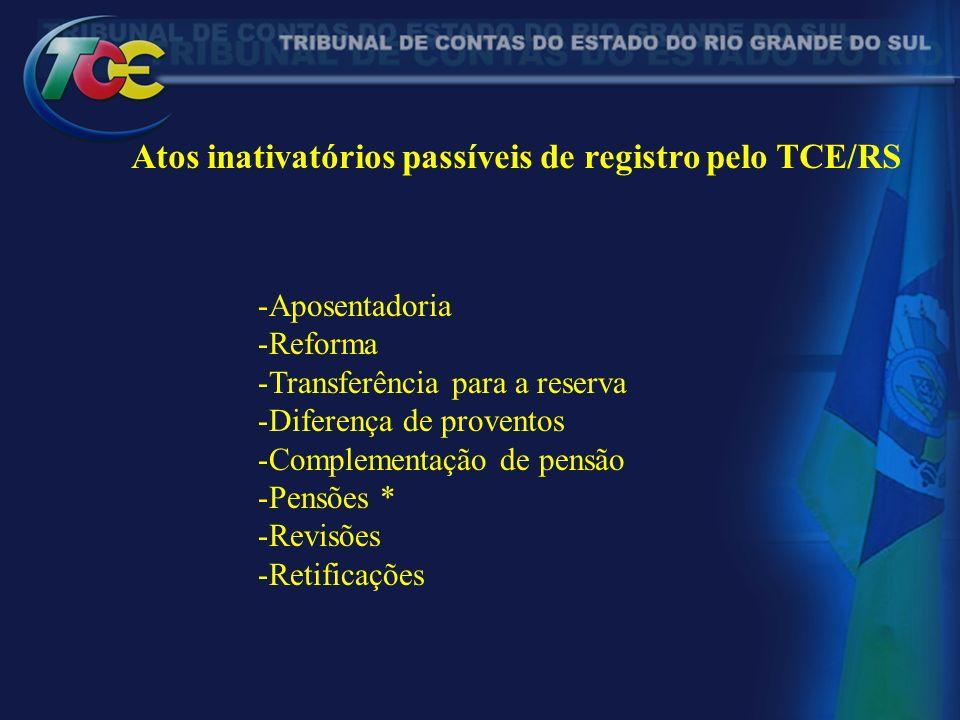 Atos inativatórios passíveis de registro pelo TCE/RS