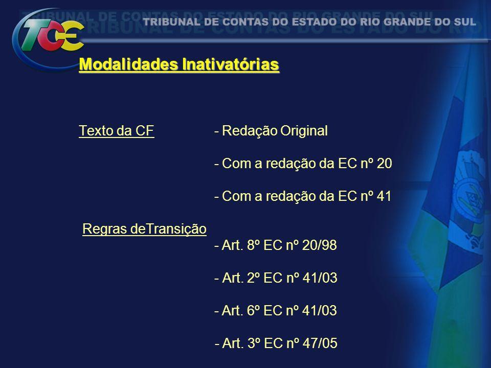 Modalidades Inativatórias Texto da CF - Redação Original