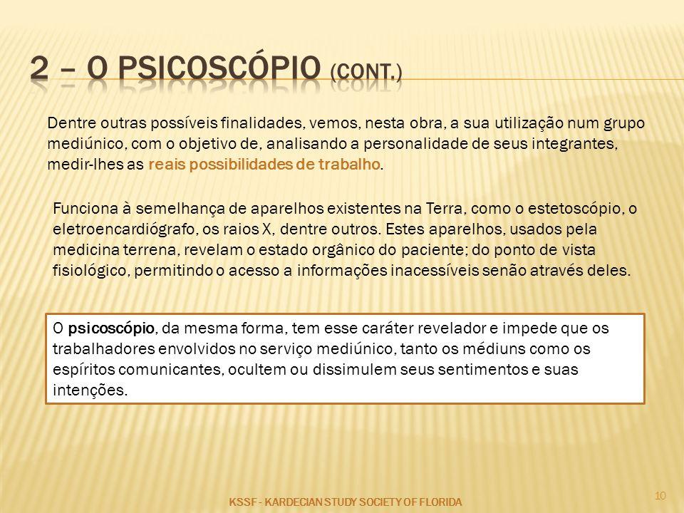 2 – O PSICOSCÓPIO (CONT.)