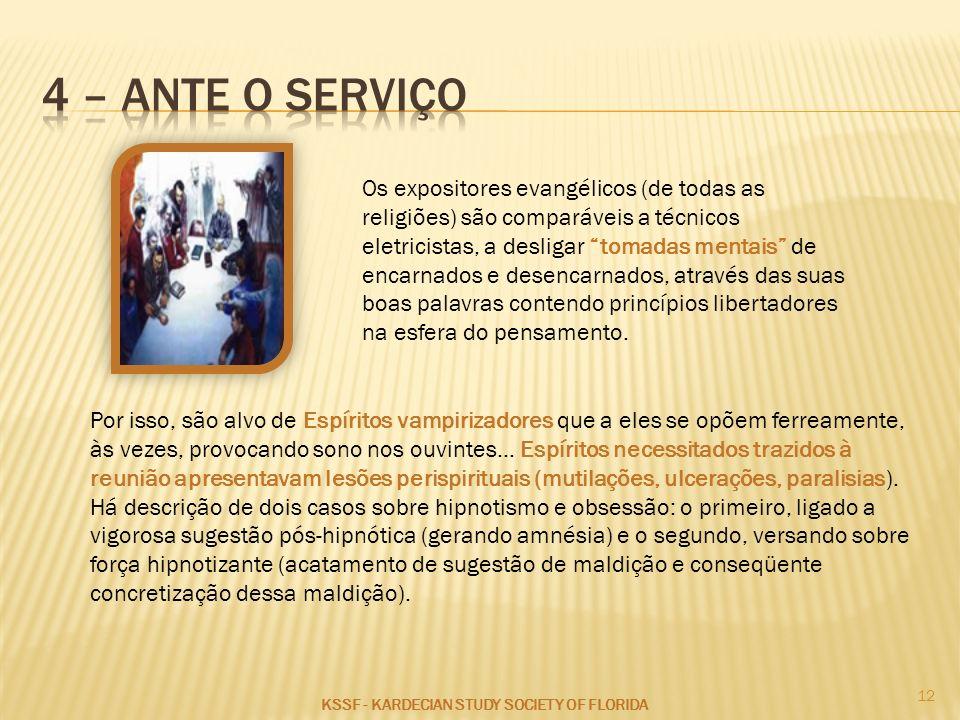 4 – ante o serviço