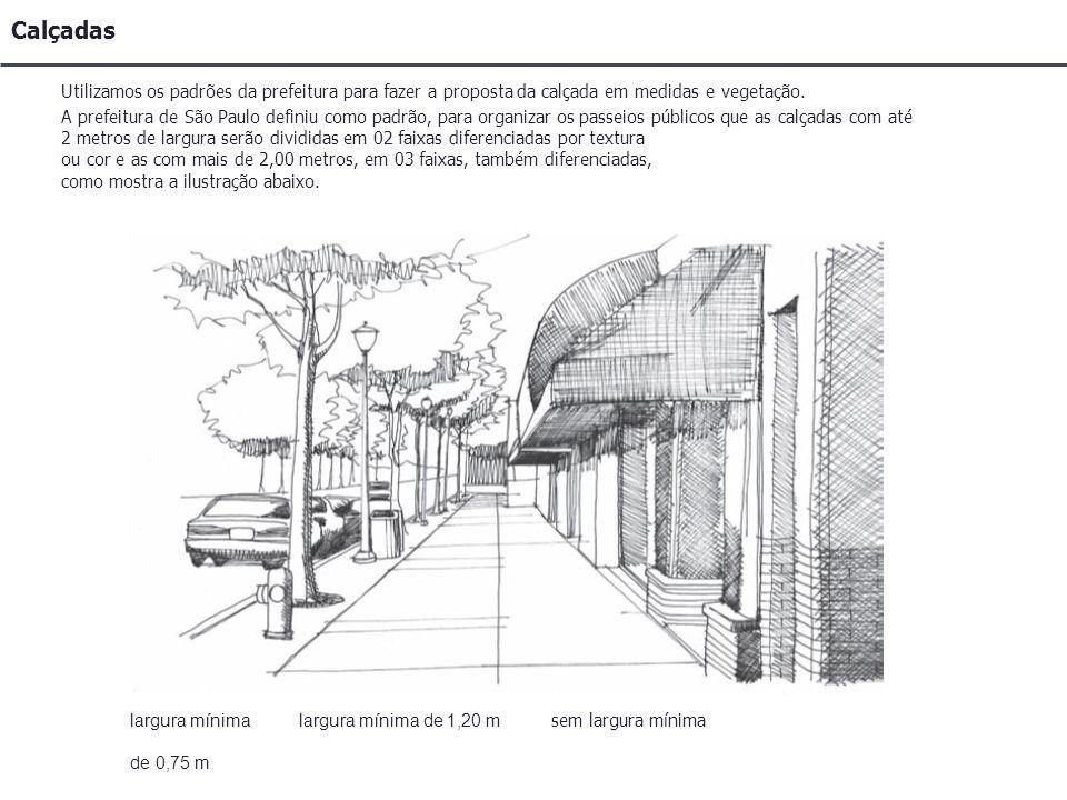 Calçadas Utilizamos os padrões da prefeitura para fazer a proposta da calçada em medidas e vegetação.