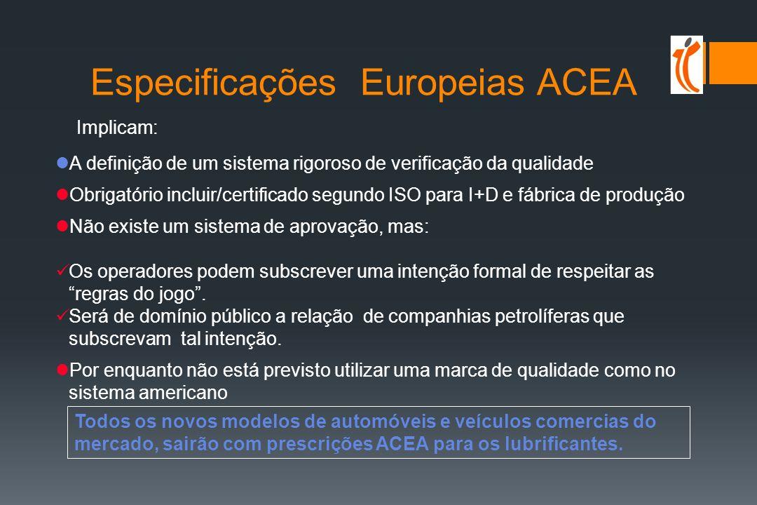 Especificações Europeias ACEA