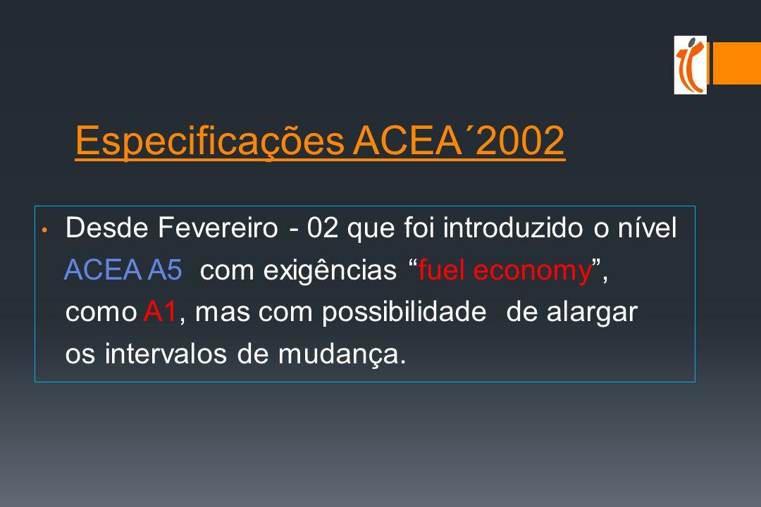 Especificações ACEA´2002 ACEA A5 com exigências fuel economy ,
