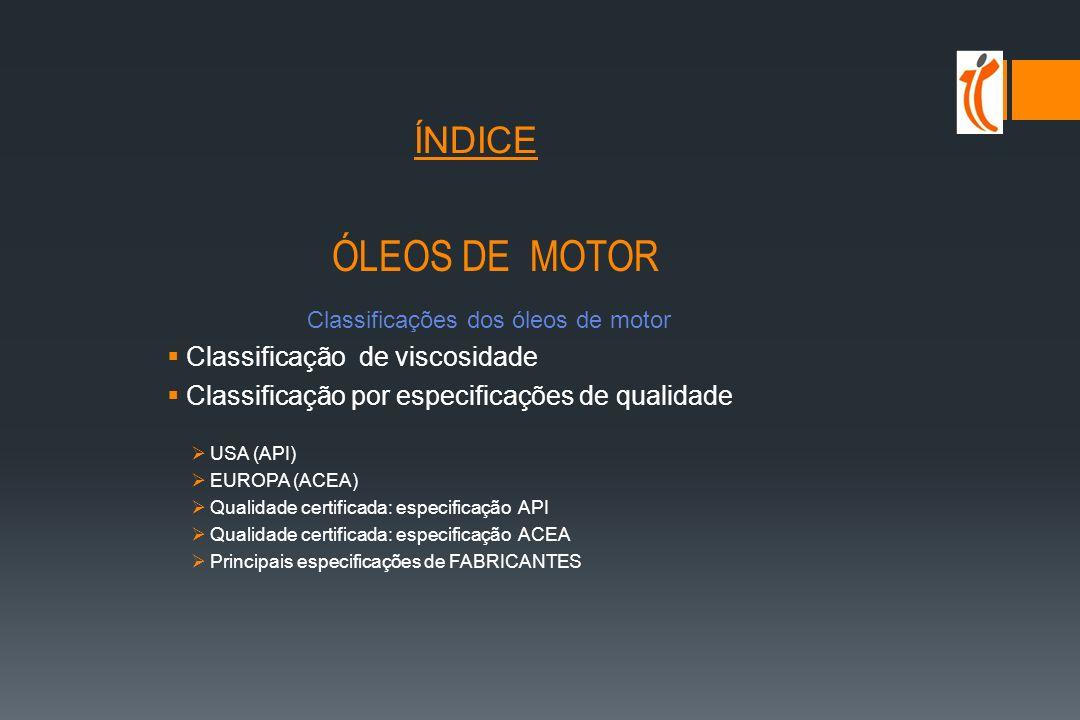 ÍNDICE ÓLEOS DE MOTOR Classificação de viscosidade