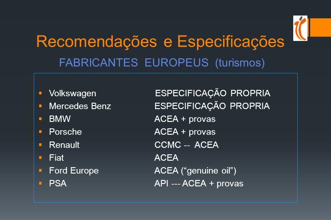 Recomendações e Especificações FABRICANTES EUROPEUS (turismos)