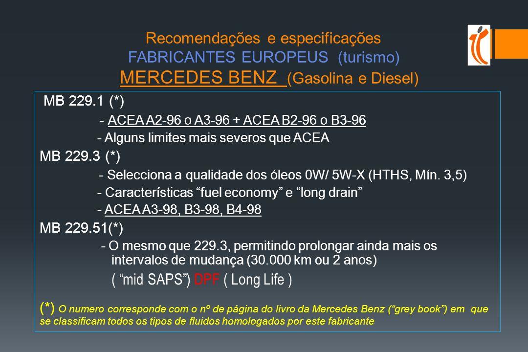 Recomendações e especificações FABRICANTES EUROPEUS (turismo) MERCEDES BENZ (Gasolina e Diesel)
