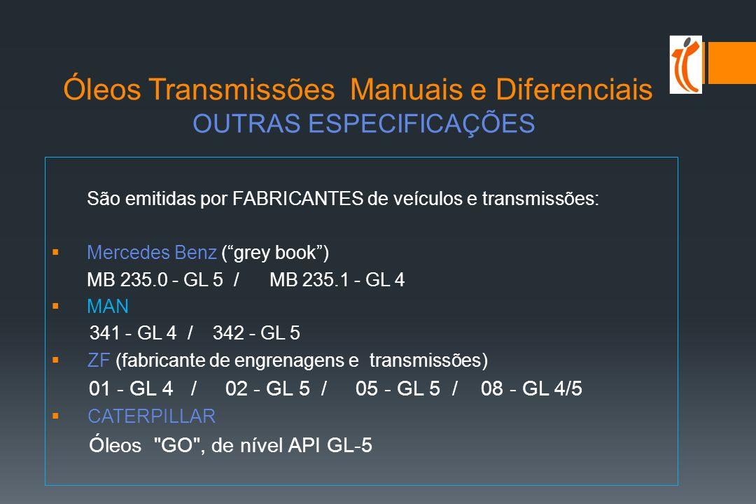 Óleos Transmissões Manuais e Diferenciais OUTRAS ESPECIFICAÇÕES