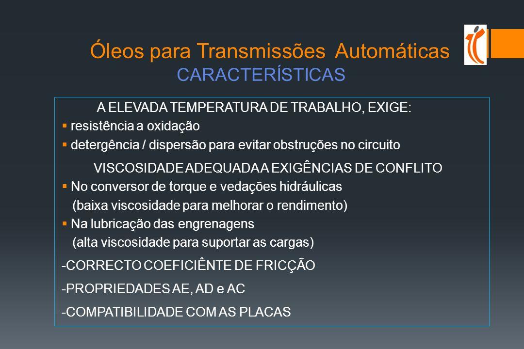 Óleos para Transmissões Automáticas CARACTERÍSTICAS