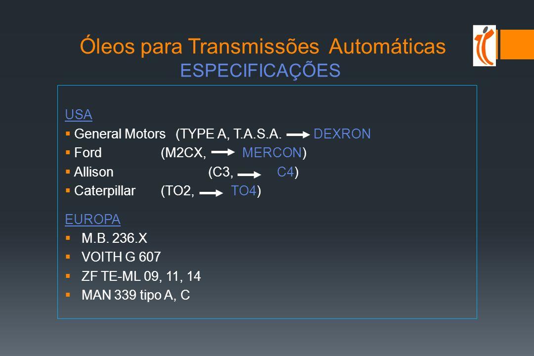 Óleos para Transmissões Automáticas ESPECIFICAÇÕES