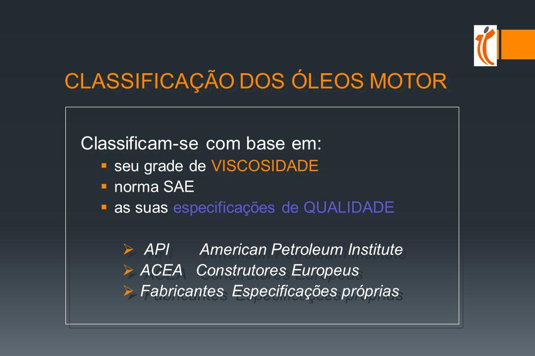 CLASSIFICAÇÃO DOS ÓLEOS MOTOR