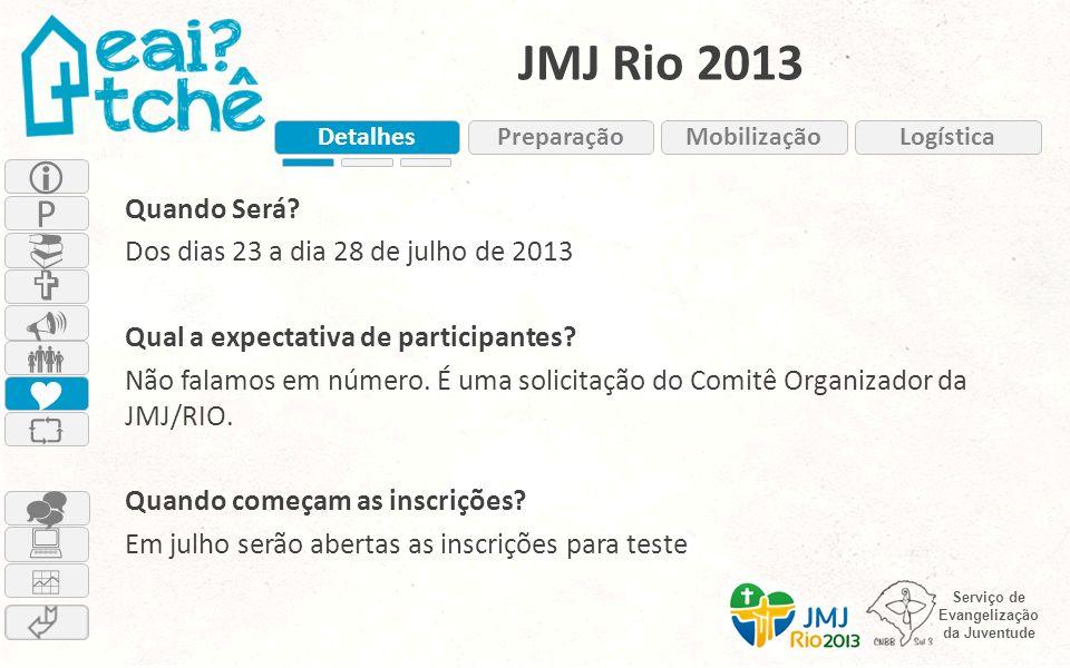 JMJ Rio 2013 Detalhes. Preparação. Mobilização. Logística. 